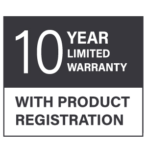 10 year limited warranty with product registration